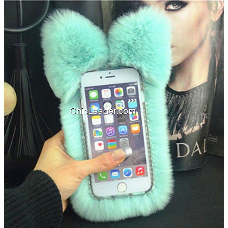watch b3eab d6e33 Cute Cat Ears Fluffy Rabbit Fur Case for iPhone 6 Plus / 6S Plus 5.5 ...