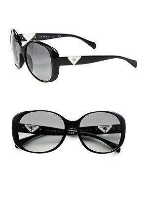 Prada - Crystal Accented Plastic Sunglasses - Saks.com