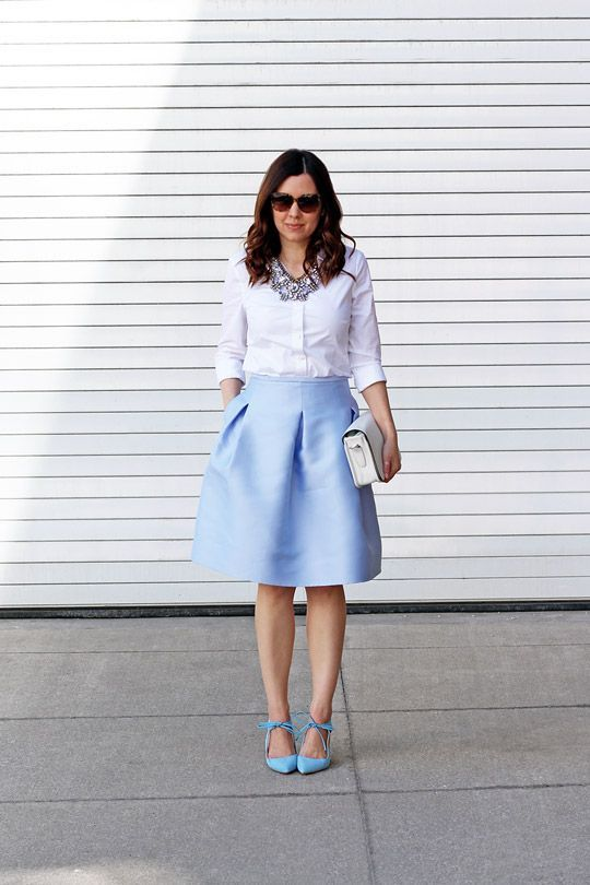 8ecb7ac01ca5 baby blue midi skirt outfit