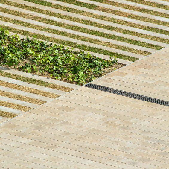 Reinterpretation of modernist ornament for formal definition – Santa Creu i Santa Pau HOSPITAL GARDENS #spain #landscape #architecture #barcelona #reinterpretation #modern #contemporary #stone #lawn #planting #bands