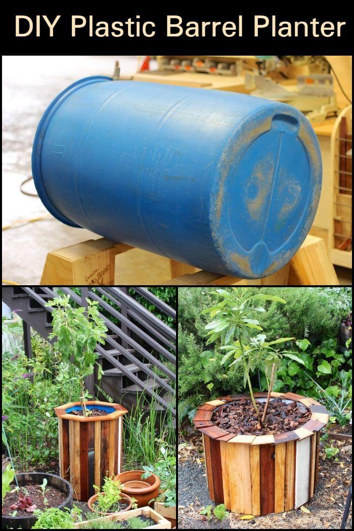 Diy Plastic Barrel Planter
