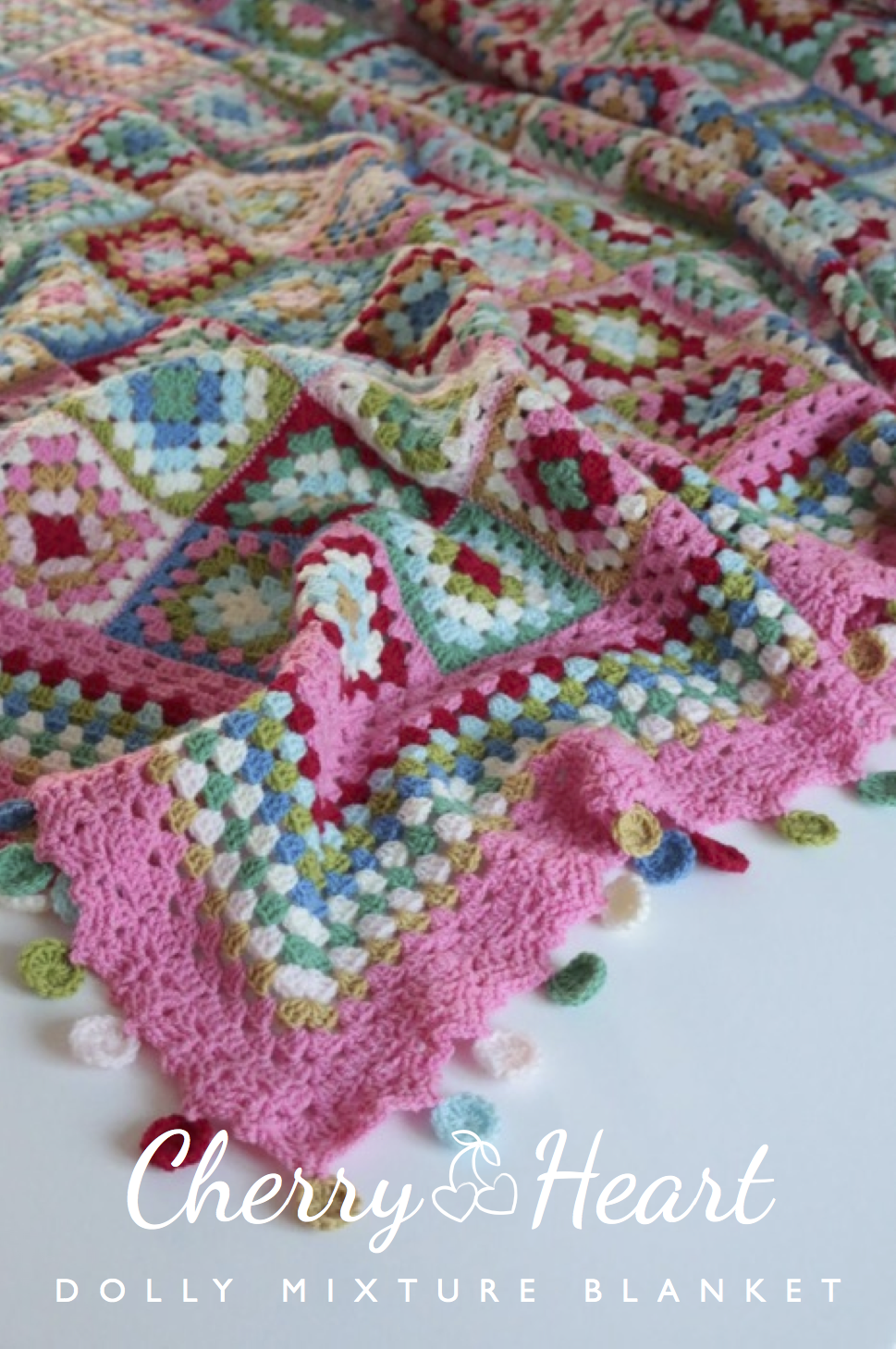 Cherry Heart: Dolly Mixture Blanket - Love how this turned out with it's happy colours, simple granny squares, and dotty edging!