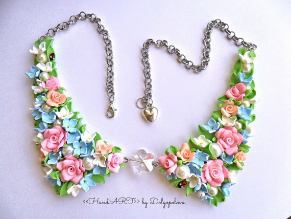 Polymer clay flower necklace collar Jewelry by Polyclaydesign