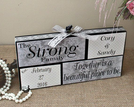 Together Is A Beautiful Place To Be - Wedding Wood Blocks - Bridal Shower Gift - Unique Anniversary Gift - Home Decor Personalized Blocks