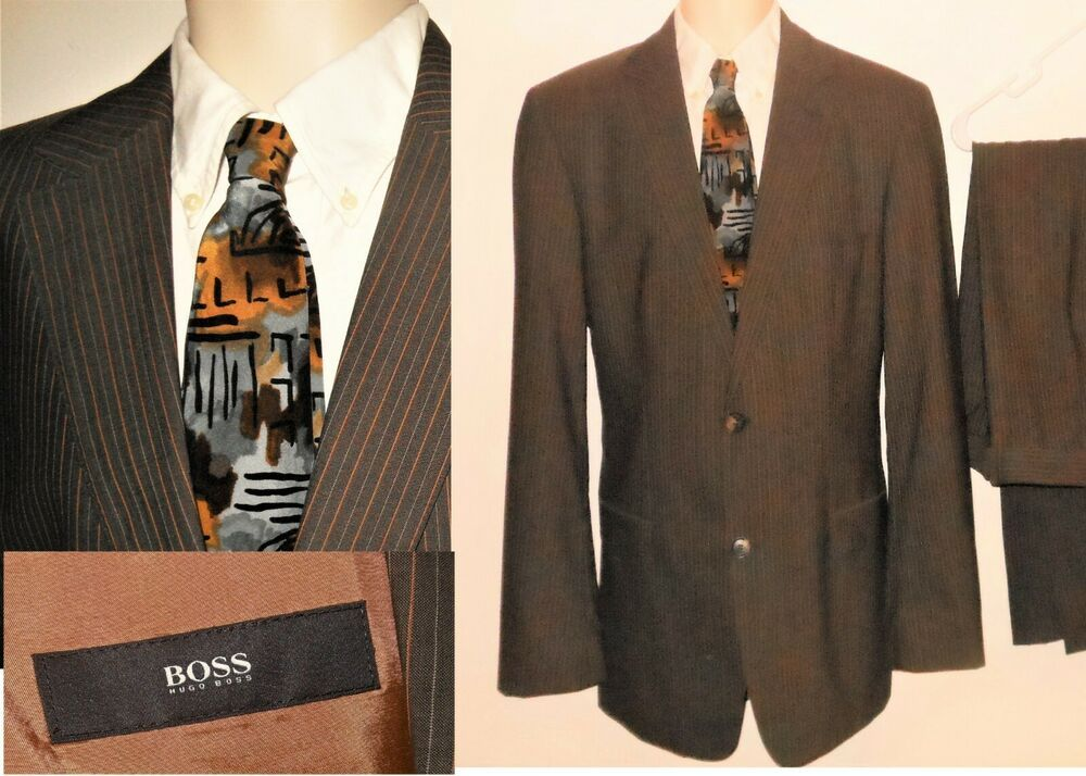 Hugo Boss Suit 42R Wool Brown Stripe Gray Rust Jacket Flat