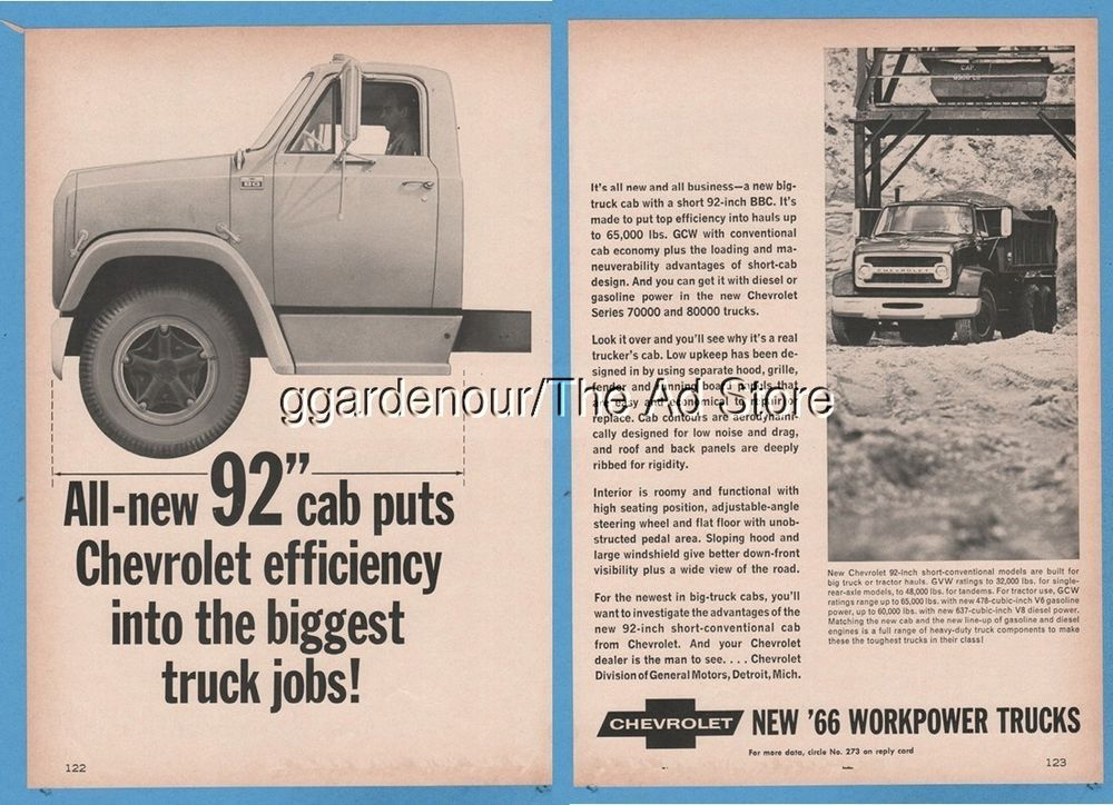 1965 Chevrolet Series 80 7000 8000 Dump Truck Cab Chevy Magazine Photo Ad Trucks Chevrolet Chevy