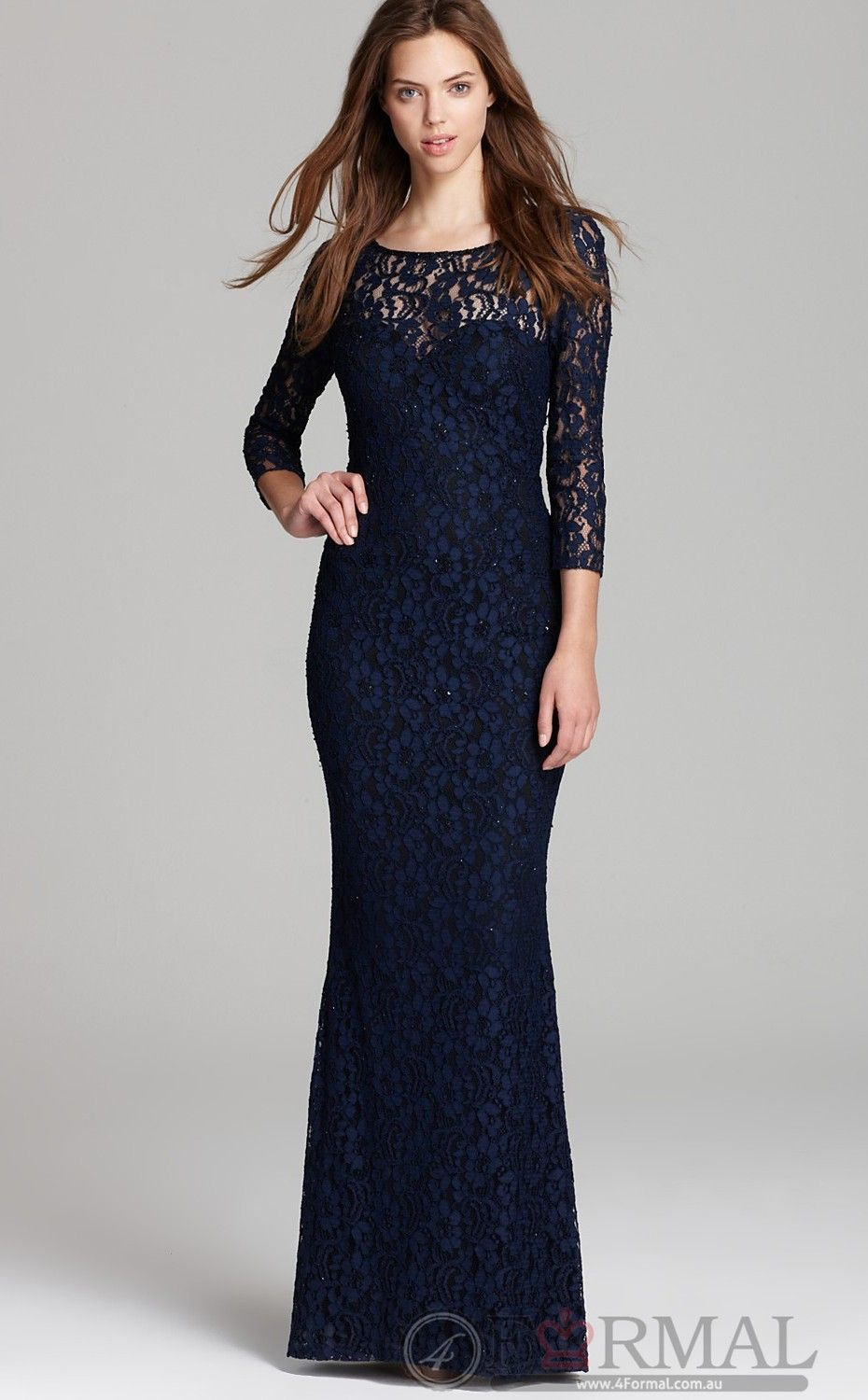 Classy Blue Lace Semi Formal Dress With Sleeves On Sale Blue Long
