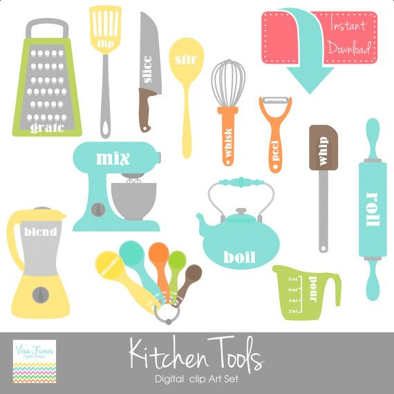 kitchen tools digital clip art clipart collection- personal and