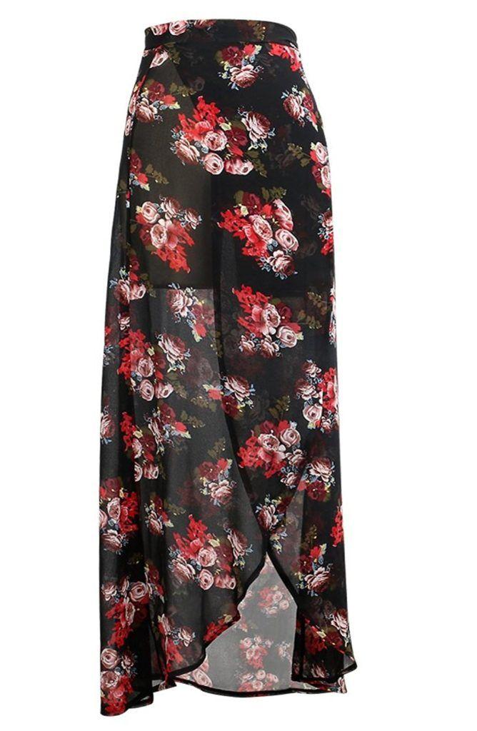 9748dfc4707dd Yonala Women Bohemian Sheer Chiffon Sarong Wrap Bikini Cover Up Beachwear  Skirt