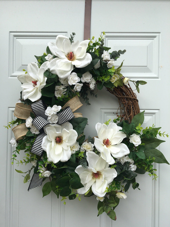 Photo of Peasant wreath, magnolia wreath, farmhouse decor, eucalyptus wreath, peasant magnolia wreath, white wreath, rustic wreath, spring wreath