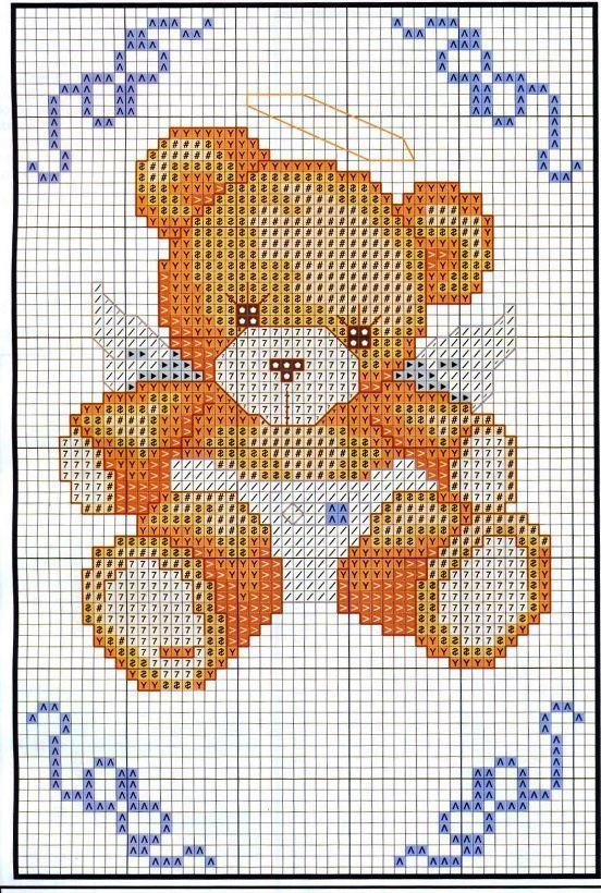 Schema punto croce orsetto angioletto coperte per for Schema punto croce orsetto