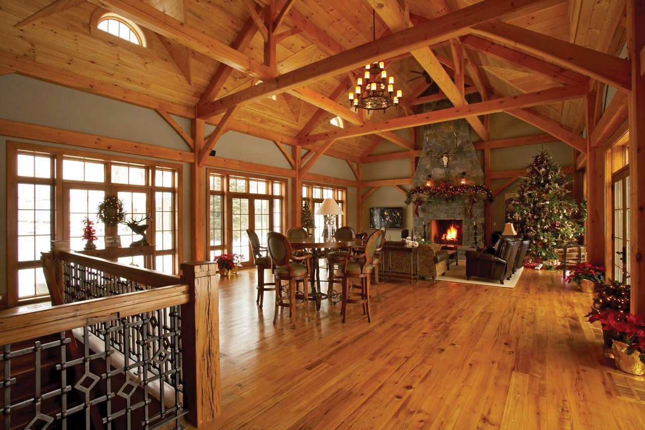 Open Timber Frame Room, Walls Of Windows On Both Sides, Stone Fireplace,  Wood