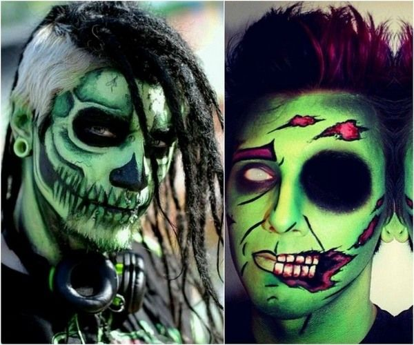 scary Halloween makeup ideas for men green skull horror