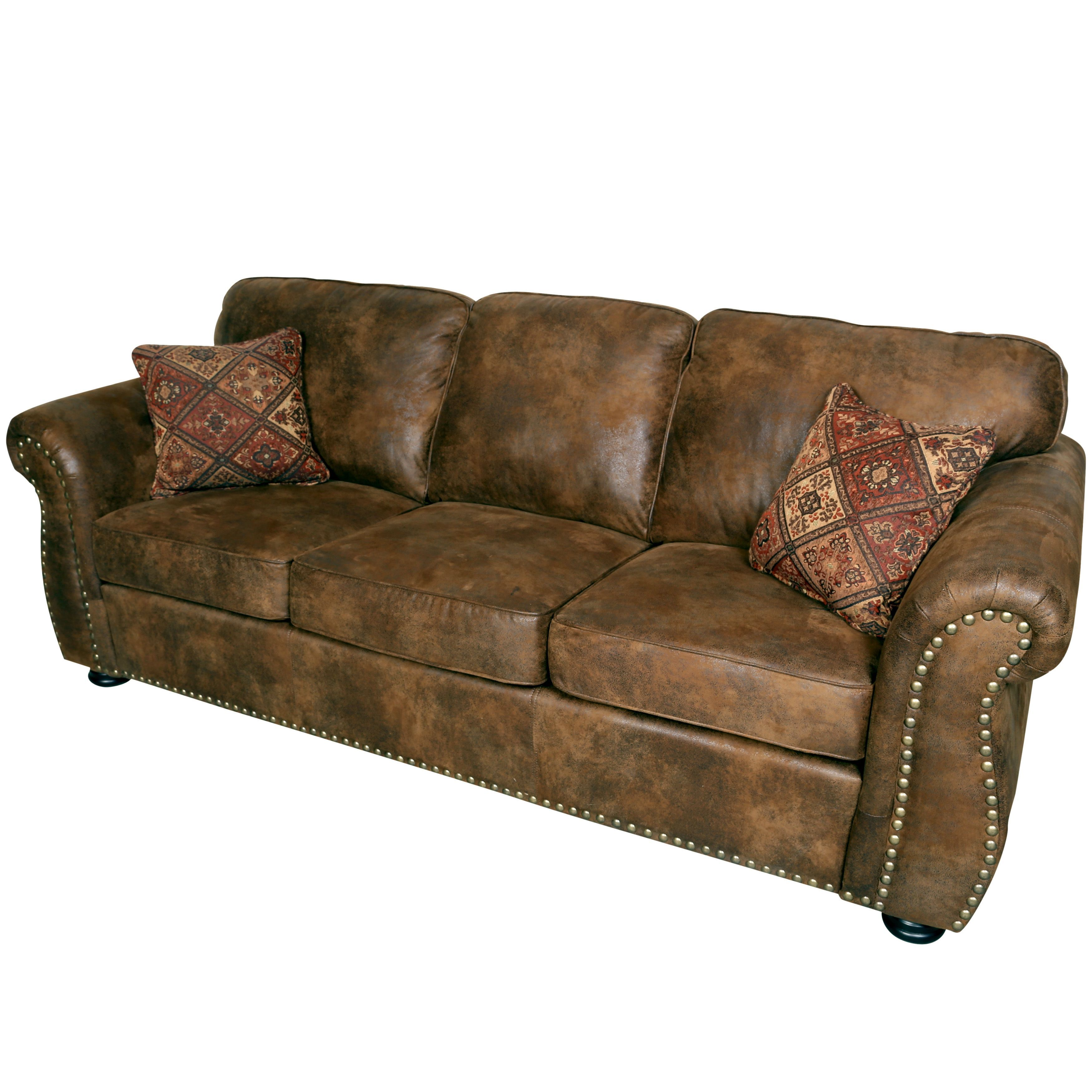 faux suede sofa cleaning instructions four seater with chaise porter elk river brown microfiber leather 2 woven accent pillows beige fabric