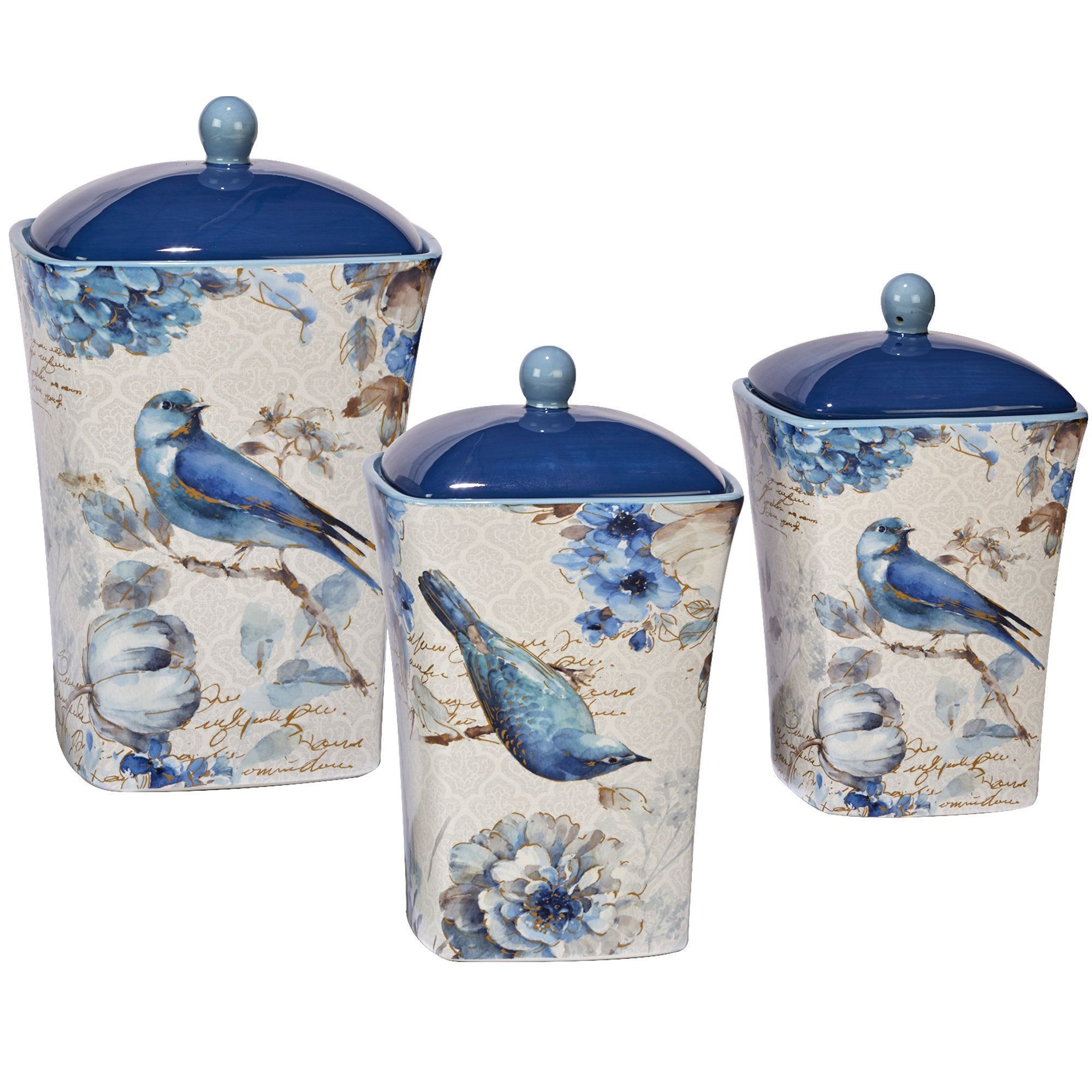 Kitchen Canisters Ceramic Sets: Certified International Indigold Hand-painted Canisters