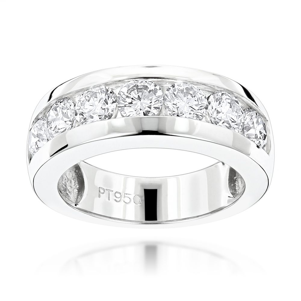 7 stone round diamond bands: platinum diamond wedding ring for men