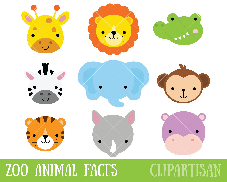 Zoo Animal Faces Clipart Safari Animal Masks Safari Baby Animals Baby Animals Animal Clipart