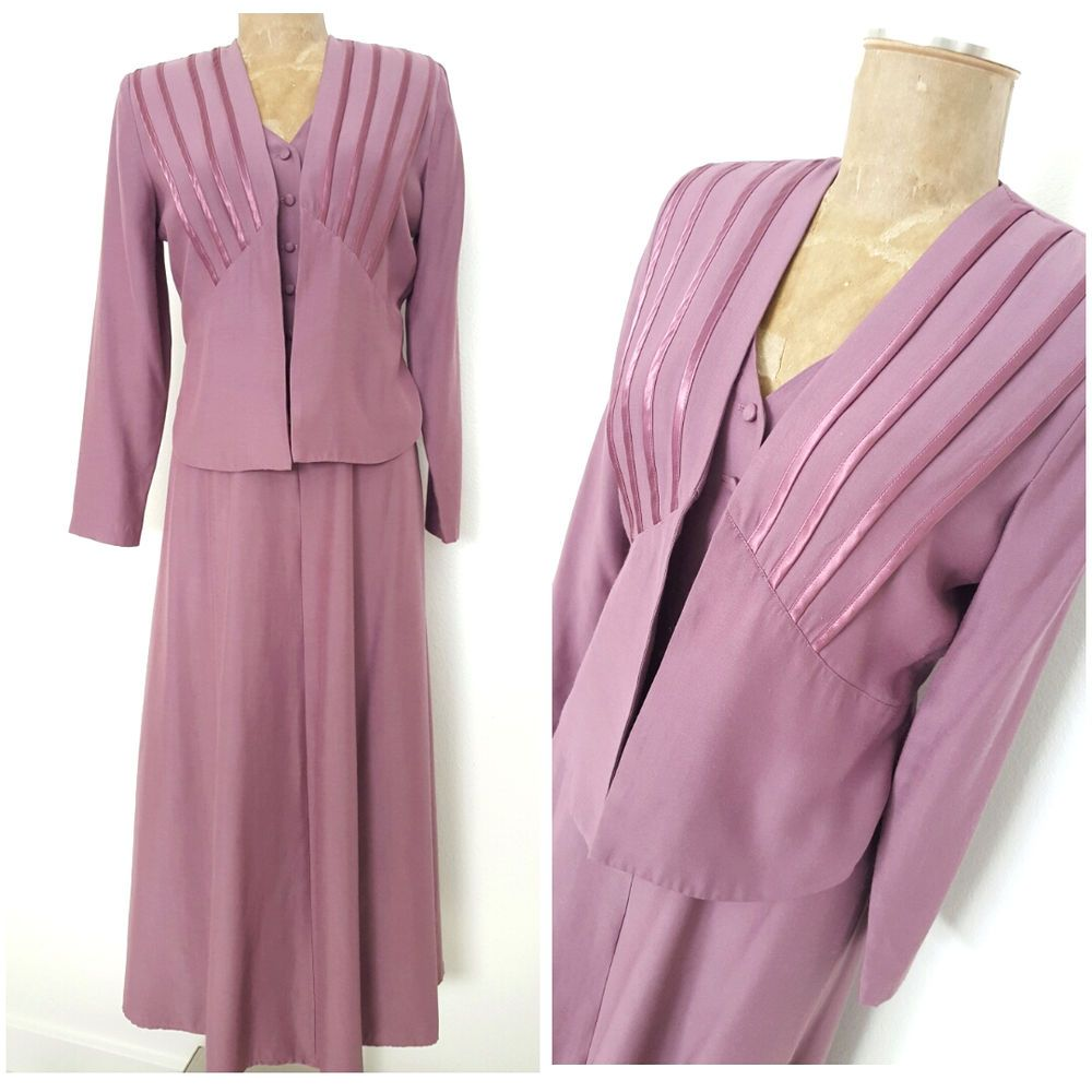 Vintage 80s Does 40s Wild Rose Dress Size Small Lavender Maxi Open ...