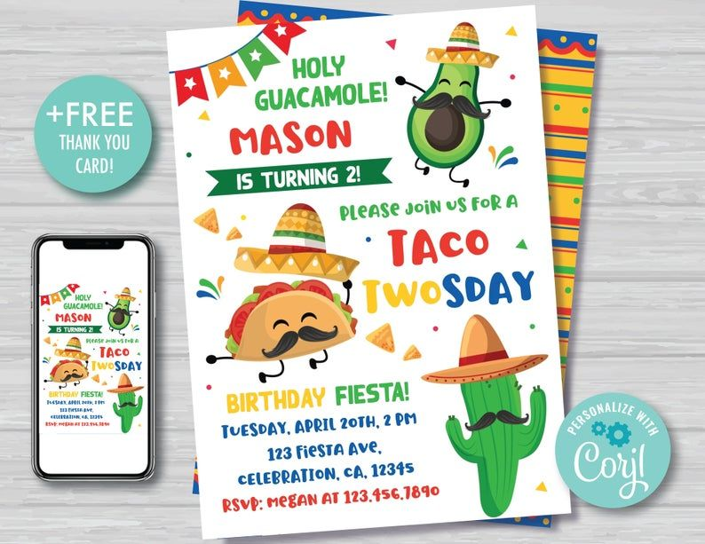 Taco TWOsday Thank You Card Boy/'s 2nd Birthday Mexican TWOsday Birthday Thank You Note Cinco de Mayo Birthday Fiesta Instant Download TT1