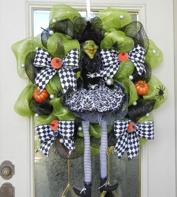 Halloween Sale Halloween Green Witch Wreath A Show Stopper, Black