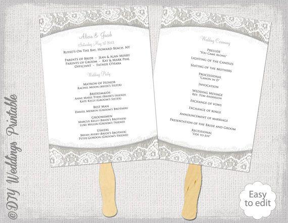 wedding fan program template burlap lace gray diy silver linen