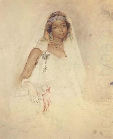 Portrait D Une Jeune Fille Marocaine Crayon Et Aquarelle Mk32