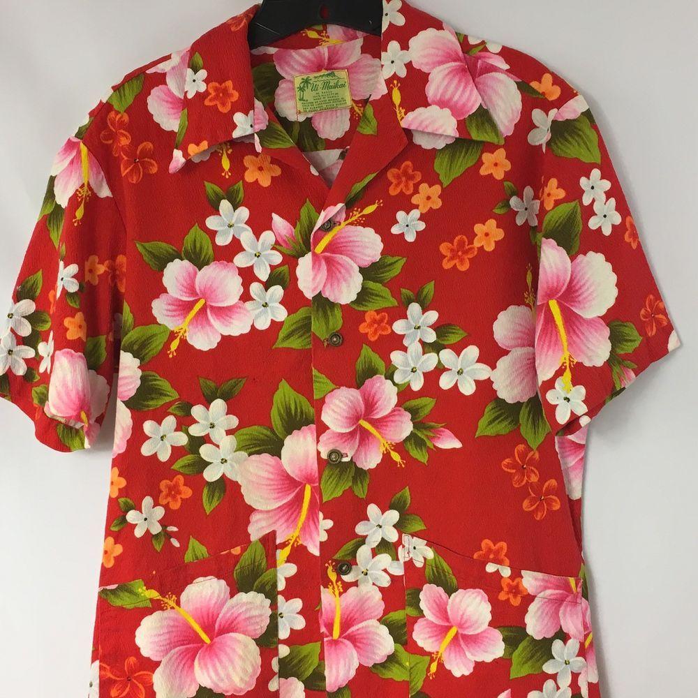 Red and black flannel cardigan  Vintage Barkcloth UiMaikai Aloha Hawaiian Shirt Small Floral Red