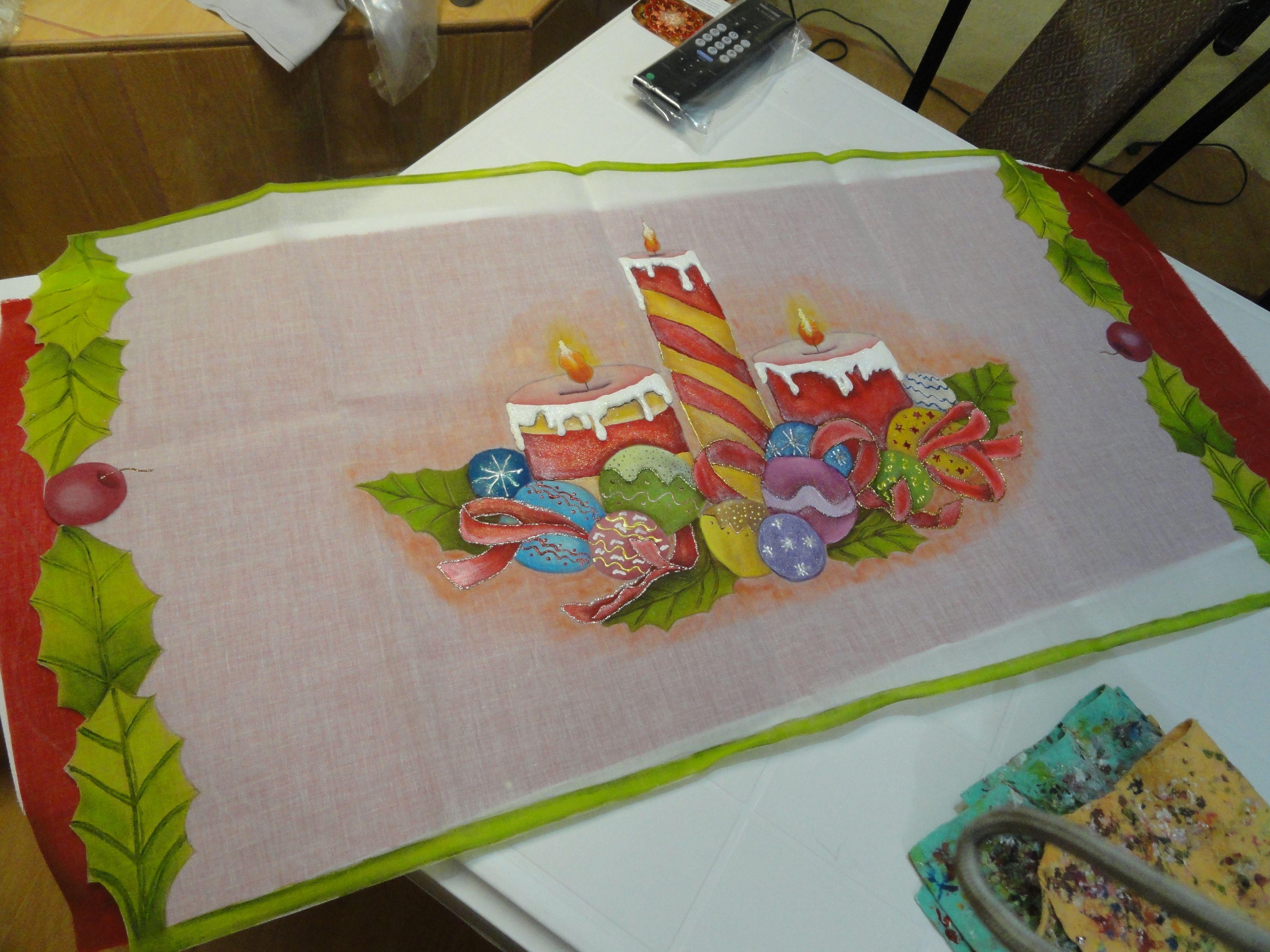 Camino de mesa de vela arte en textil handicraft - Motivos navidenos para pintar en tela ...