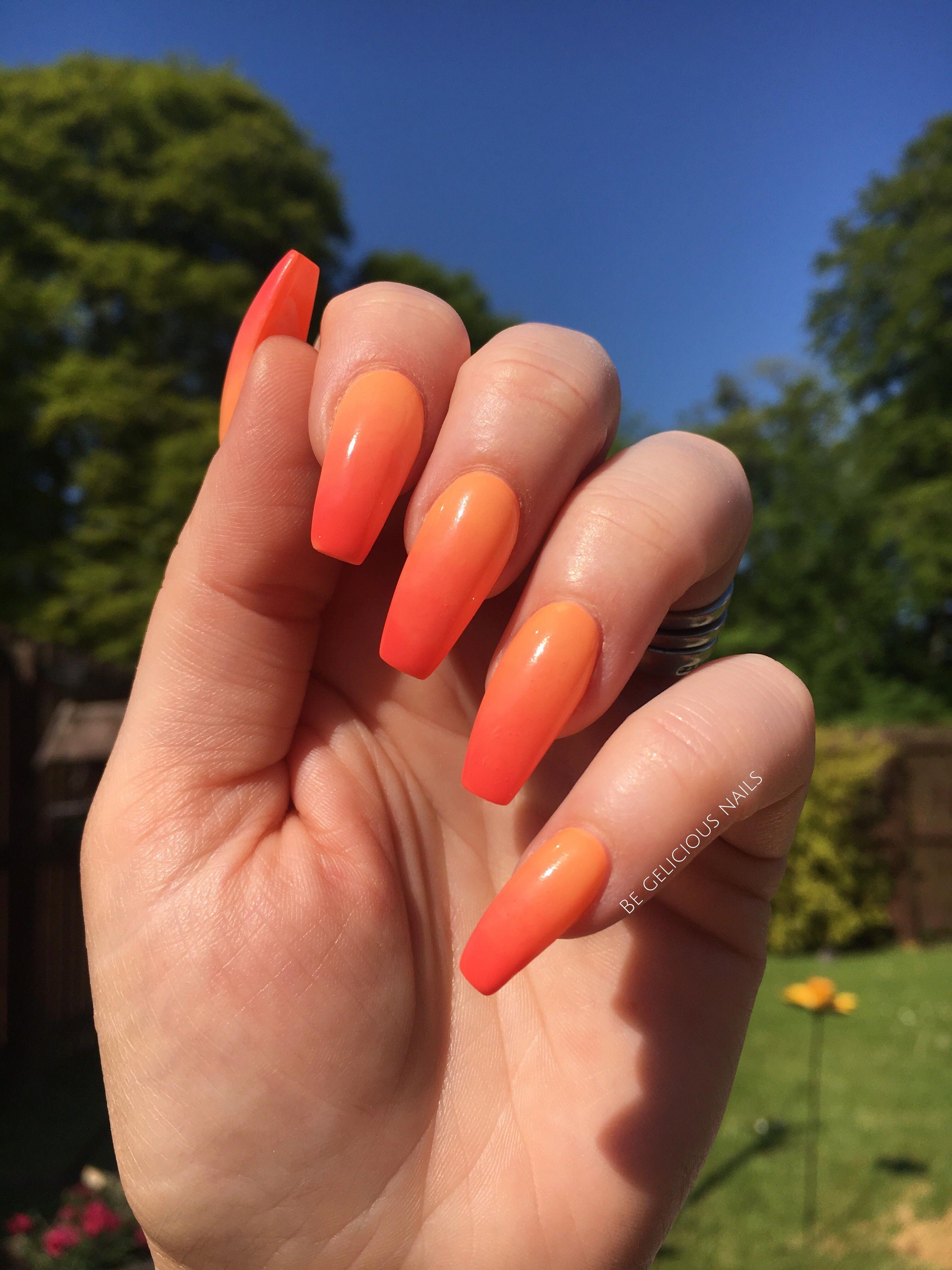 Pin By Malissa Denny On Beauty In 2020 Neon Orange Nails Orange Ombre Nails Red Orange Nails
