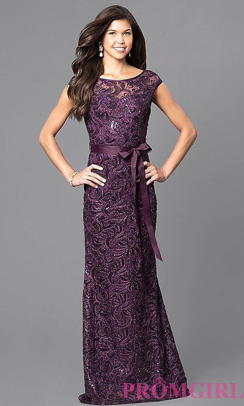Lace Cap-Sleeve Long Formal Dress with Sequins