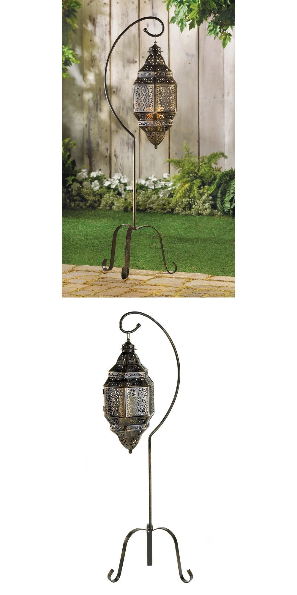 Hanging outdoor candle lanterns for patio - Outdoor D Cor Candle Lanterns 183392 Moroccan Hanging Candle Lantern W Stand Patio Garden Yard
