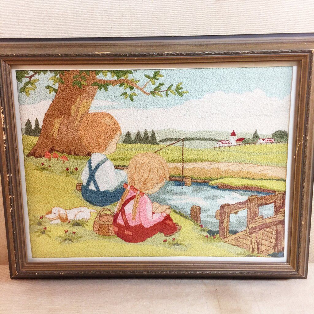 Vintage Crewel Embroidered Scene of Children Fishing $30