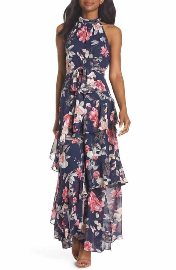 e4b55cd97895 pretty floral print maxi dress to wear to a summer wedding as a guest