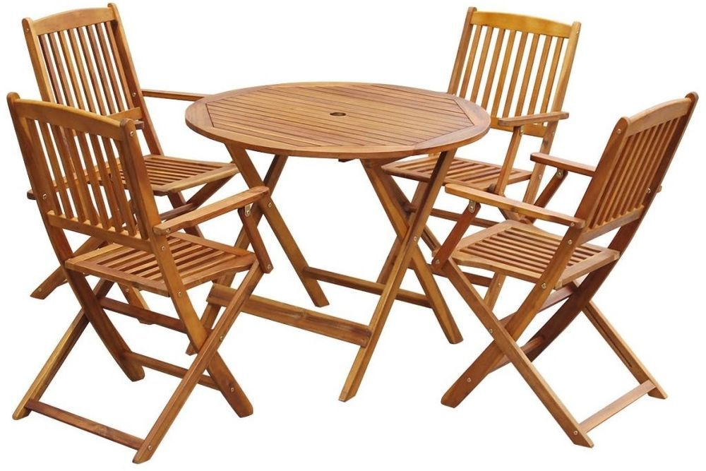 5 Psc Patio Garden Dining Set Table Chairs Foldable Outdoor Indoor Acacia Wood Garden Table And Chairs Round Garden Table Patio Dining Set