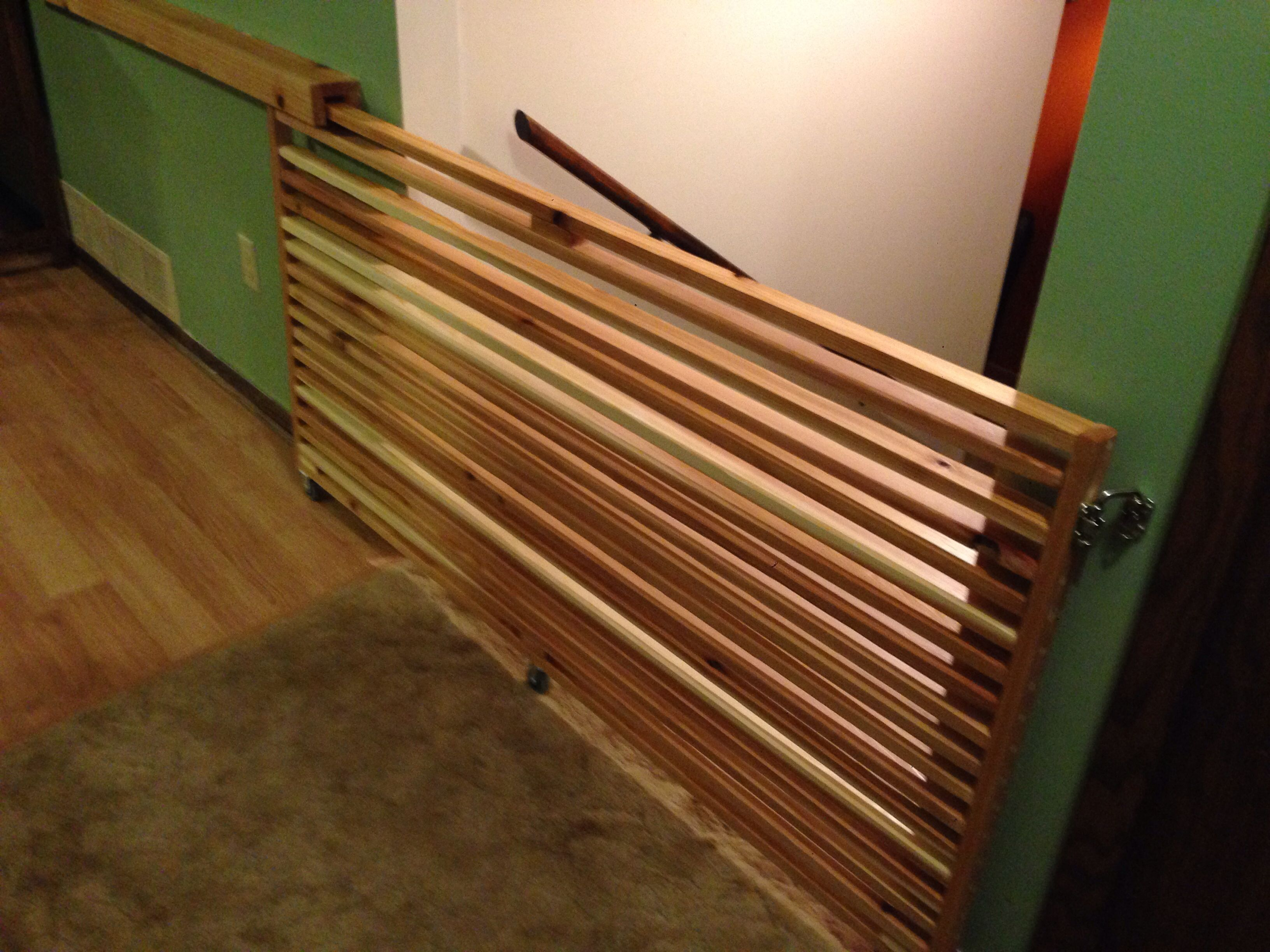 Sliding Gate For The Top Of Stairs Made Of Cedar 1x2 Boards
