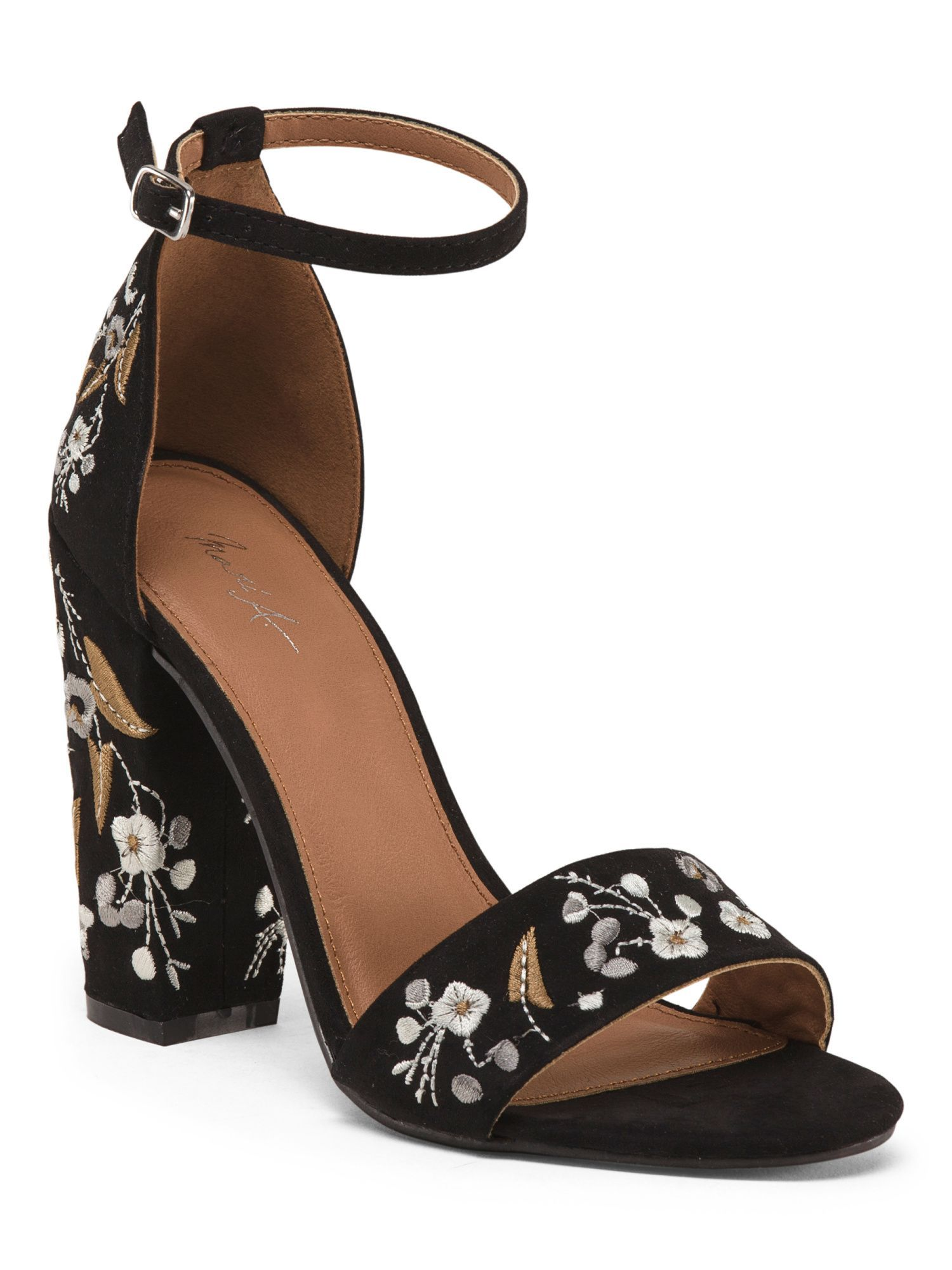 78c7e7796671 Embroidered Block Heels