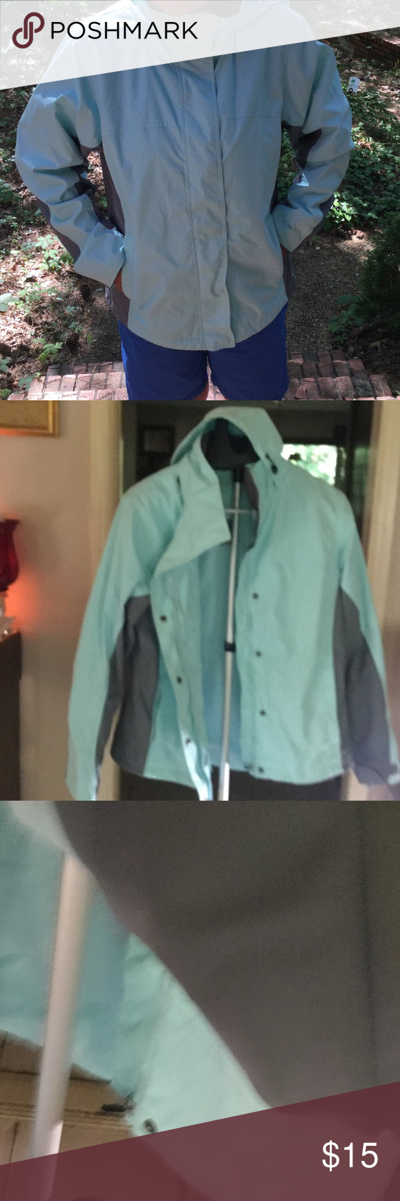 Jacket Nylon but lined wind breaker jacket with lots of details hat adjustable cuffs hidden zipper inside and a lot more closure buttons and zipper . New never worn offers are welcome as I am going back home have no space . Thanks Champion Tops Sweatshirts & Hoodies
