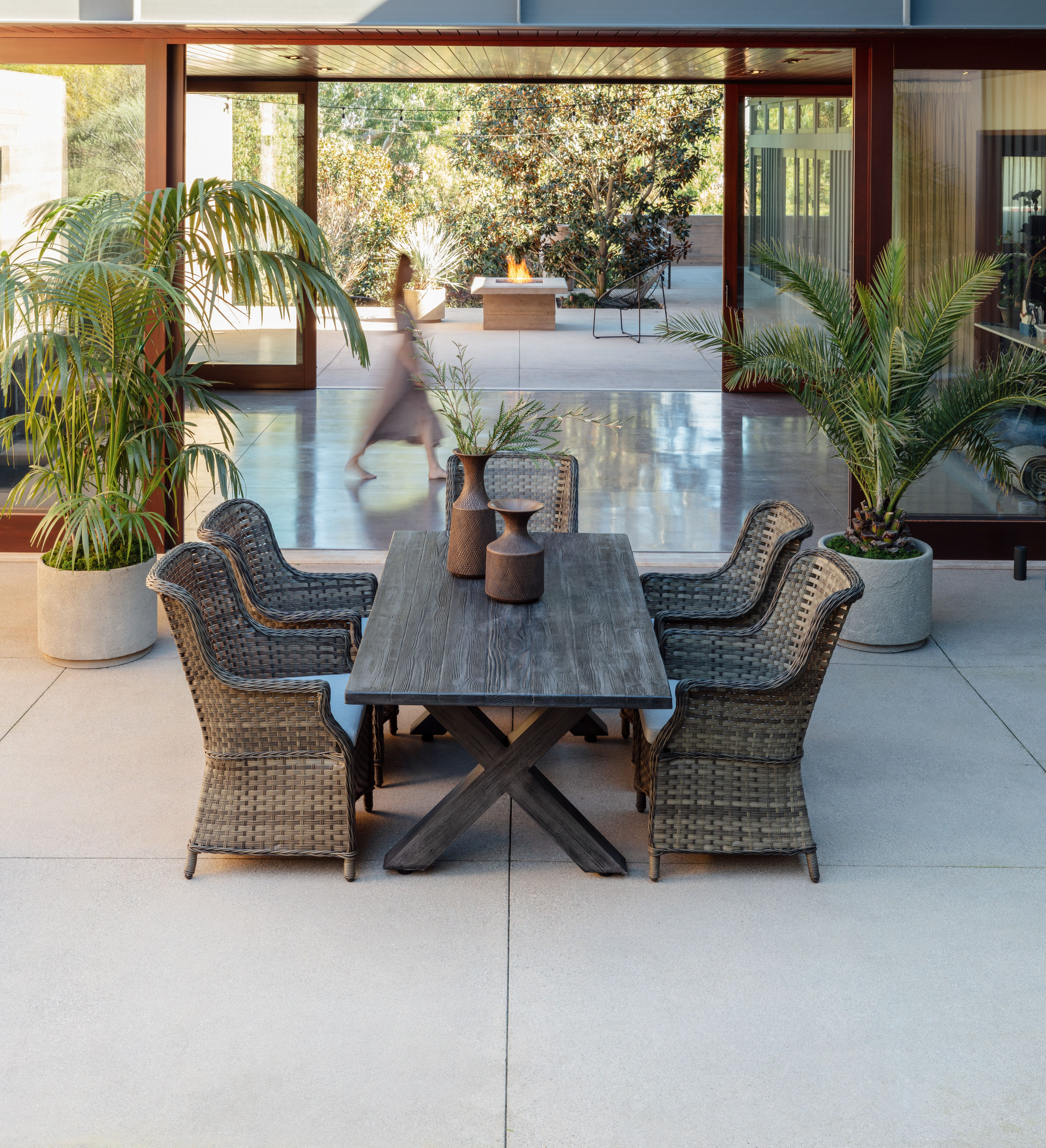The Outdoor Tortuga 7 Piece Dining Set with Aventura Side ... on Living Spaces Outdoor Dining id=49276