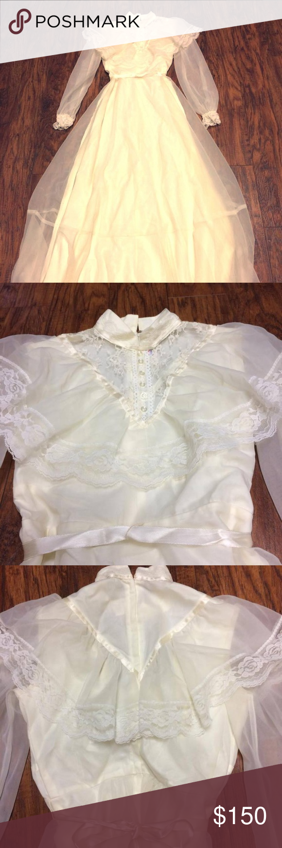 Vintage s lace modest prairie wedding dress gown in amazing