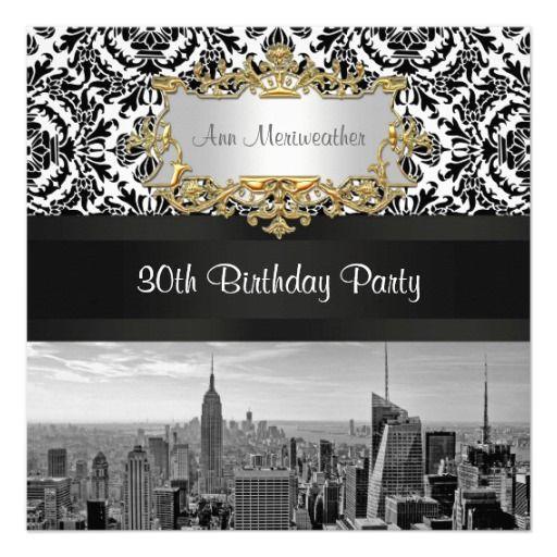 NY City Skyline BW 431 Damask Birthday Party Invites