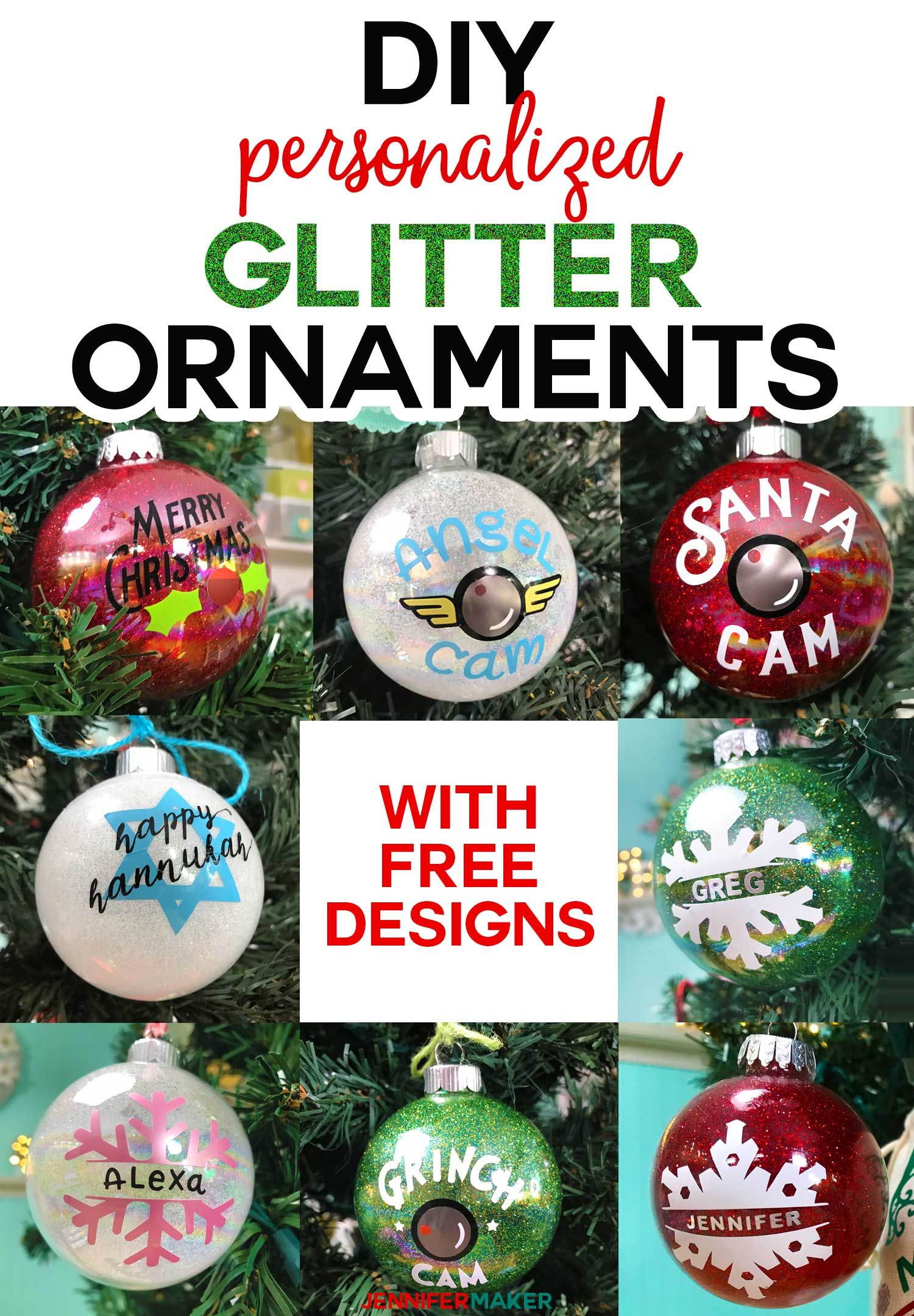Diy Glitter Ornaments With Layered Vinyl Jennifer Maker Cricut Christmas Ideas Christmas Ornaments Homemade Personalized Christmas Ornaments
