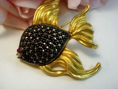 Vintage Judith Jack Fine Jewelry Designer Signed Fish Brooch Pin