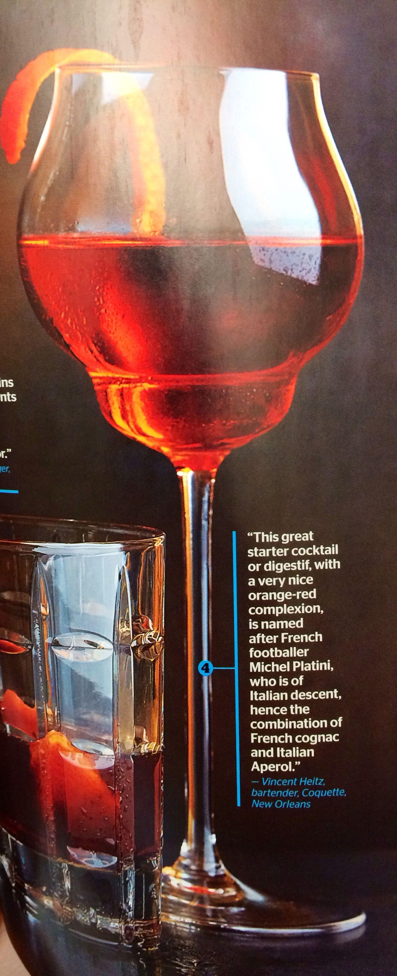 The Platini Elegant And Strong 1 1 2 Ozs Cognac 3 4 Ozs Cocchi Americano 3 4 Ozs Aperol Orange Peel Stir All Ingredi Aperol Mixing Glass Alcoholic Drinks