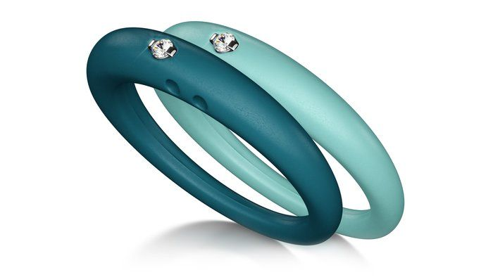 Rubber Rings with Diamonds by Duepunti. a modern take on classic jewelry