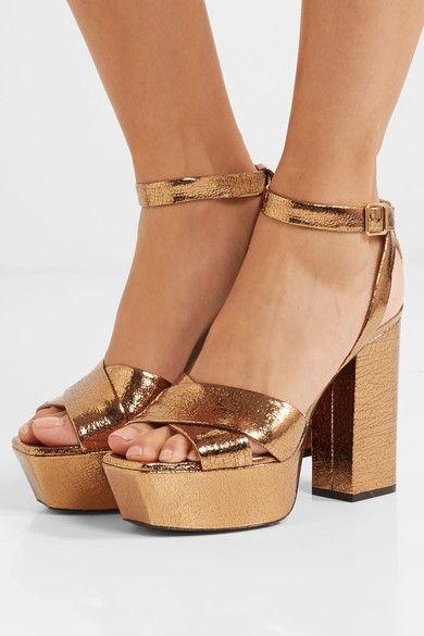5ea554b1066 SAINT LAURENT gorgeous Farrah metallic cracked-leather platform sandals