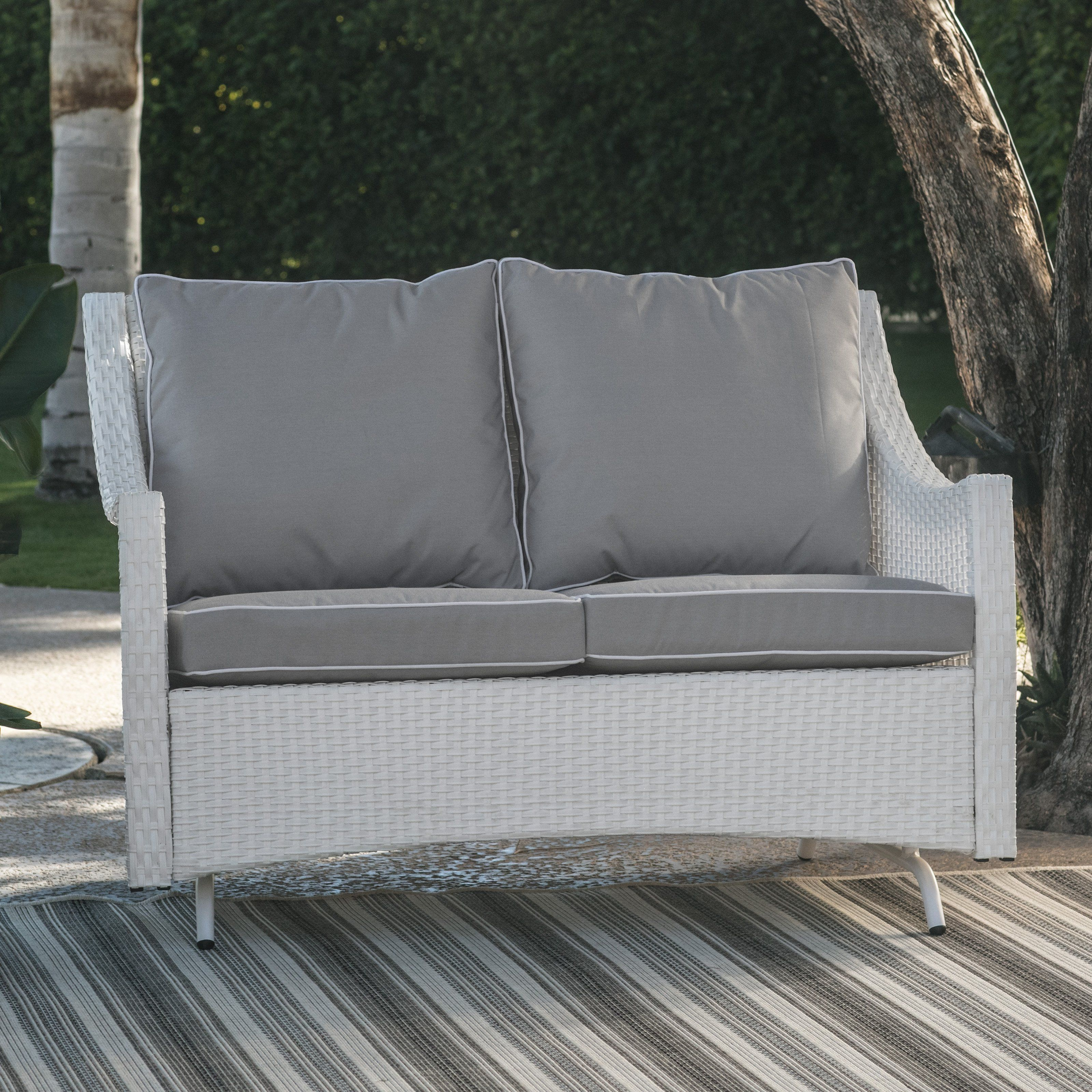 Belham Living Lindau All Weather Wicker Patio Loveseat Glider With Cushion White From Hayneedle