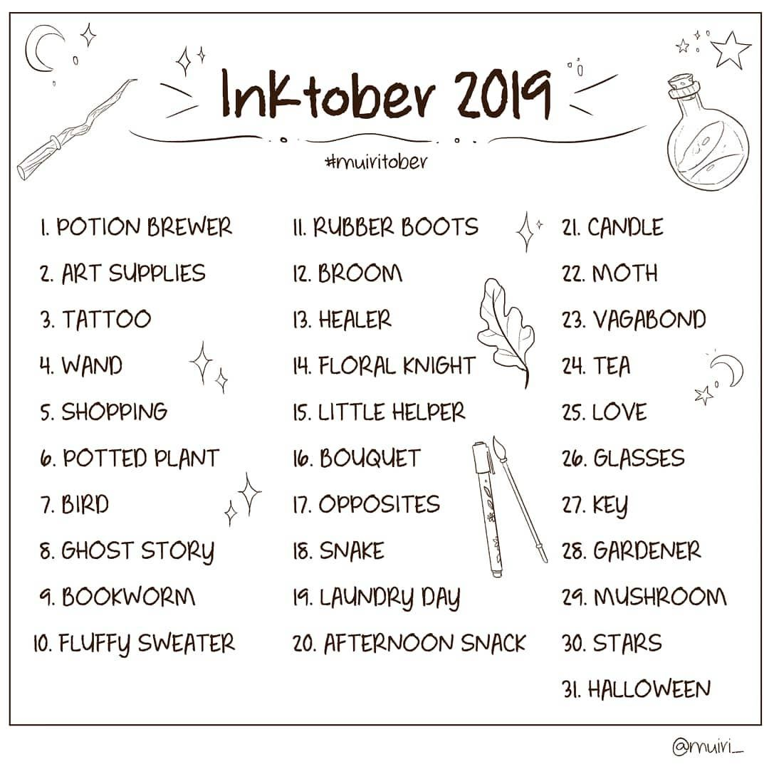 Marta On Instagram Hiii I Ll Use My Own Prompt List This Inktober Feel Free To Join The Fu Art Journal Prompts 30 Day Art Challenge Drawing Challenge