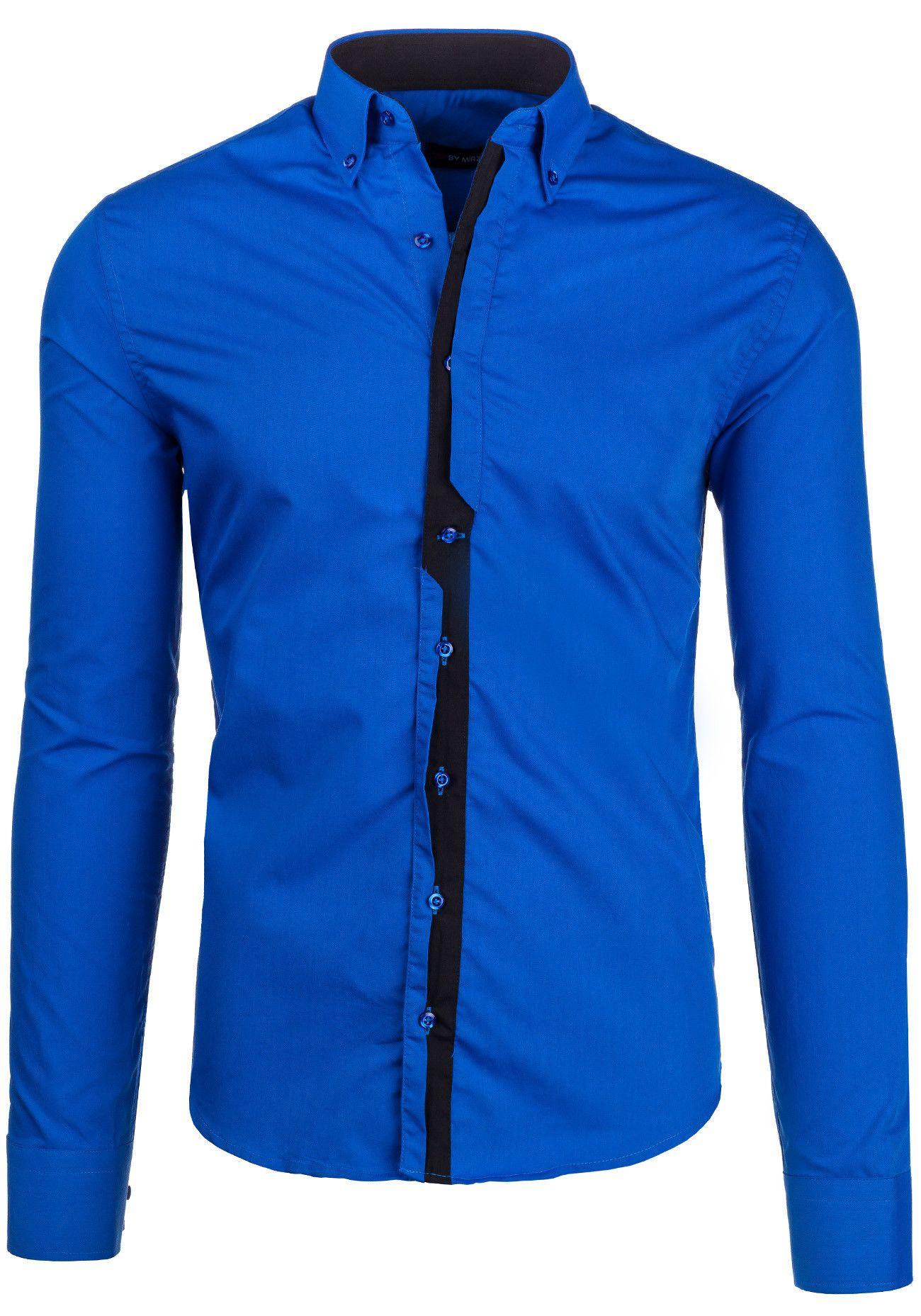 e1b927921d Koszula męska BY MIRZAD 5745 niebiesko-czarna NIEBIESKO-CZARNY ...