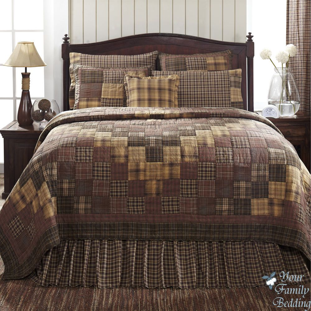 country rustic brown plaid patchwork twin queen cal king size
