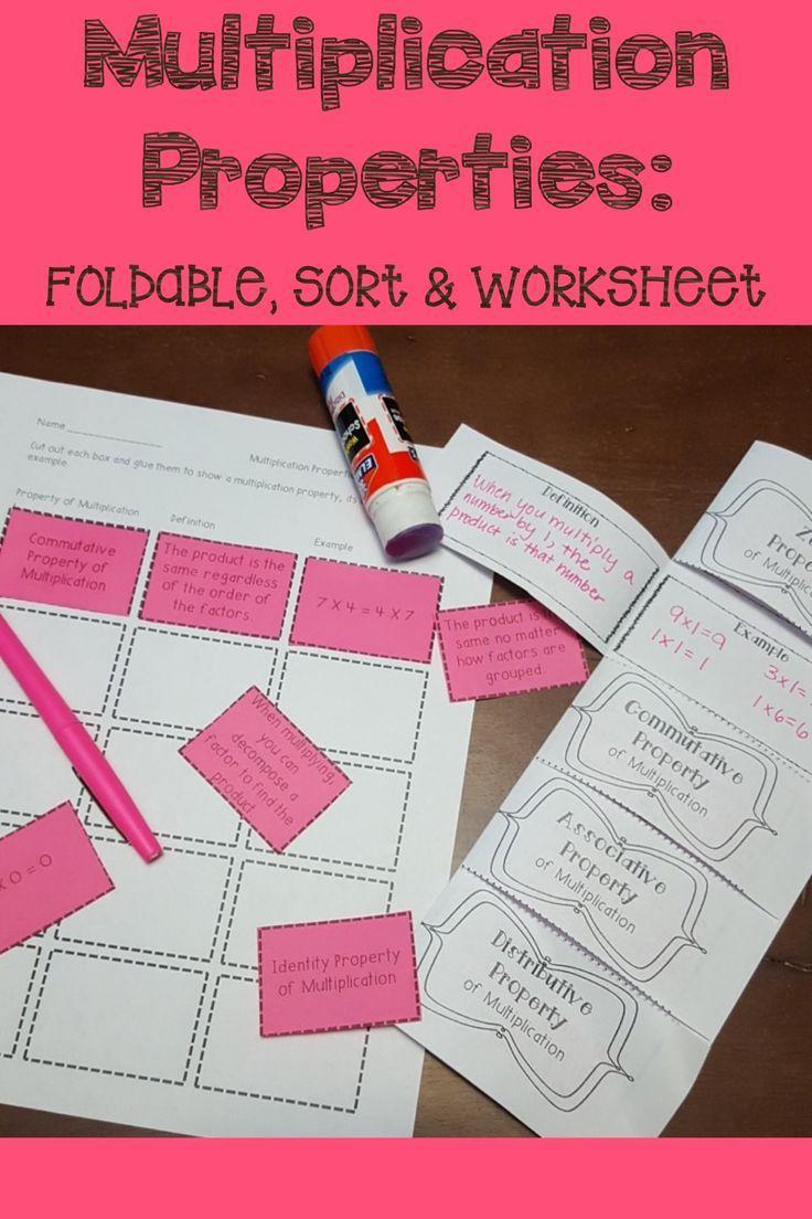 Multiplication Properties Organizer Sort And Worksheet Properties Of Multiplication Third Grade Math Multiplication Upper Elementary Math